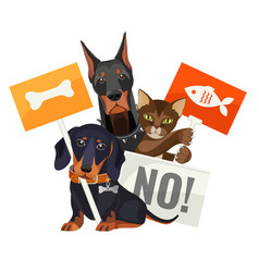 No bullying of animals protesting cats and dogs vector