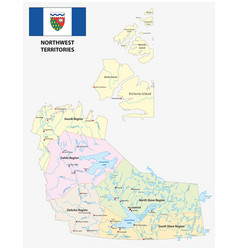 Northwest territories map with flag vector