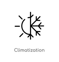 Outline climatization icon isolated black simple vector
