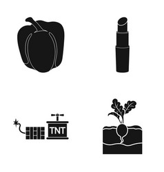 Pepper radish and other web icon in black style vector