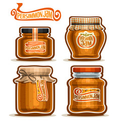 Persimmon jam in jars vector