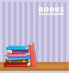 pile different color books on shelf vector image