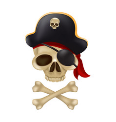 pirate skull with crossbones in captains hat vector image