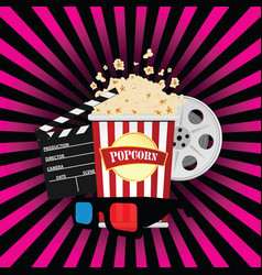 Popcorn with movie sign vector
