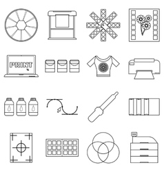 Print items icons set outline style vector
