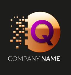 Purple letter q logo symbol in golden pixel circle vector