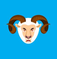 Ram angry face sheep evil emoji farm animal vector
