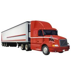 Red trailer truck vector