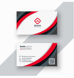 red wavy business card design vector image