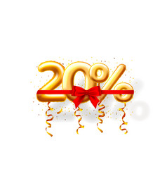 Sale 20 off ballon number on white background vector