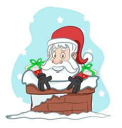 Santa going down the chimney with presents vector