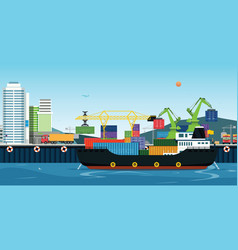 Sea transportation logistic vector