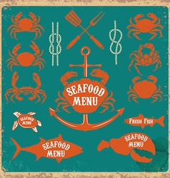 seafood menu labels set vector image