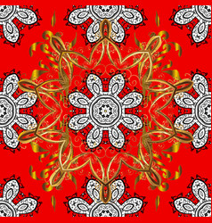 seamless classic red and golden pattern vector image