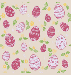 seamless pattern with ornamental eggs vector image