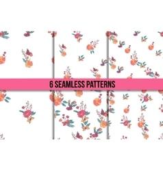 Seamless Vintage Wildflowers Pattern Set vector