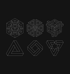 set impossible shapes optical sacred vector image