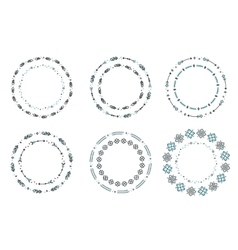 Set of ethnic style round ornaments frames vector image