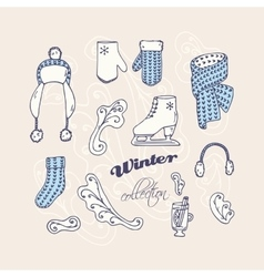 Set of hand drawn winter accessories Frosty vector