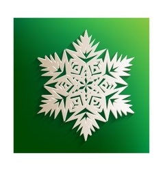 Snowflake sign with paper effect vector image