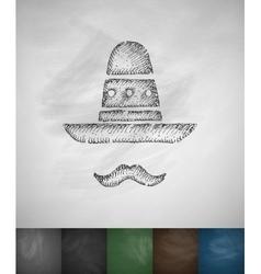 Sombrero and mustache icon Hand drawn vector