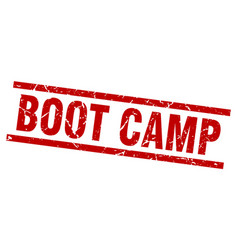 Square grunge red boot camp stamp vector