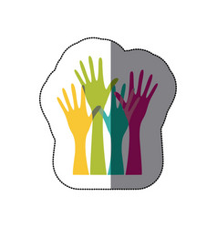 Sticker colorful set hands raised icon vector