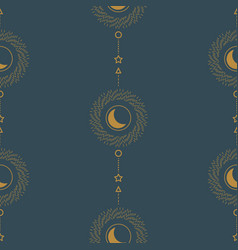 sun and crescent abstract line style geometric vector image