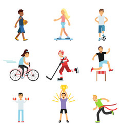 Teen boys and girls engaging in different sports vector