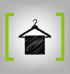 towel on hanger sign black scribble icon vector image