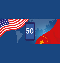 trade war conflict around 5g network technology vector image