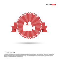 video camera icon - red ribbon banner vector image
