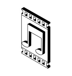 video player isometric symbol in black and white vector image