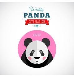 Weekly Panda Cute Flat Animal Icon Ablush vector