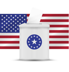 White ballot box with american flag background vector