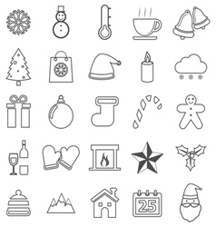 Winter line icons on white background vector image