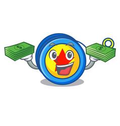 With money yoyo mascot cartoon style vector