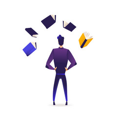 Young man stands back surrounded by books and vector