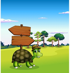 A turtle near the empty wooden arrow signboards vector image vector image