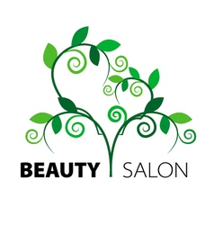 Logo tree heart of green leaves in the beauty salo vector