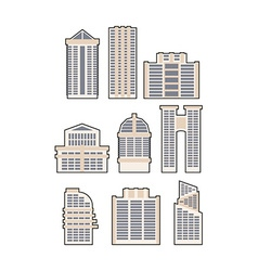 Set skyscrapers and buildings icon Urban House vector image