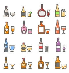 Alcohol bottles with glasses and stemware line vector image vector image