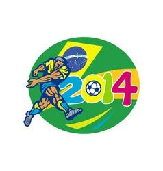 Brazil 2014 Soccer Football Player Retro vector image