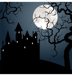 Castle and tree at night vector image