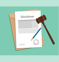 disclaimer agreement stamped with folder document vector image vector image