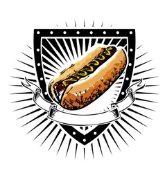 hot dog shield vector image vector image