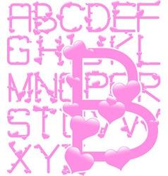 pink hearts alphabet vector image vector image