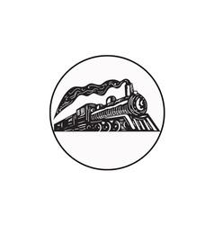 Steam Train Locomotive Coming Up Circle Woodcut vector image
