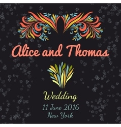 Wedding invitation vertical template with doodle vector image vector image
