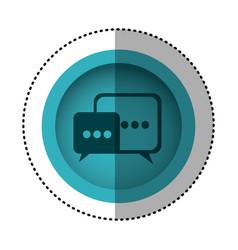 blue round symbol square chat bubbles icon vector image vector image